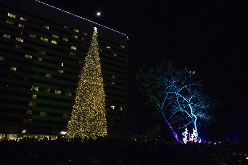 Holiday tree at South Coast Plaza in Costa Mesa.