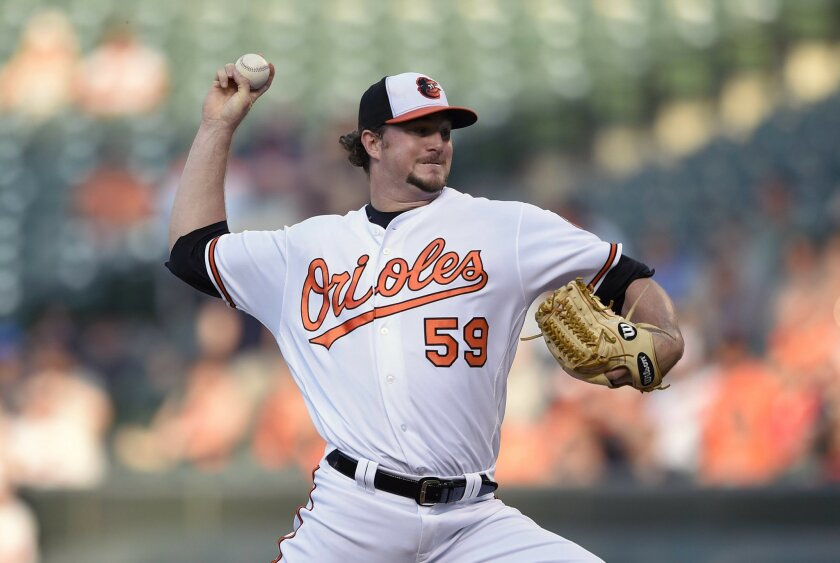 Baltimore Orioles starting pitcher Mike Wright (59) throws during the first inning of a baseball game against the Boston Red Sox, Wednesday, June 1, 2016, in Baltimore. (AP Photo/Nick Wass)