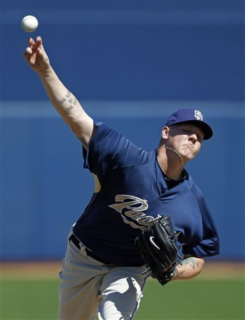 San Diego Padres starting pitcher Mat Latos throws a pitch during the first inning of a spring training baseball game against the Seattle Mariners, Friday, March 5, 2010, in Peoria, Ariz. (AP Photo/Charlie Neibergall)