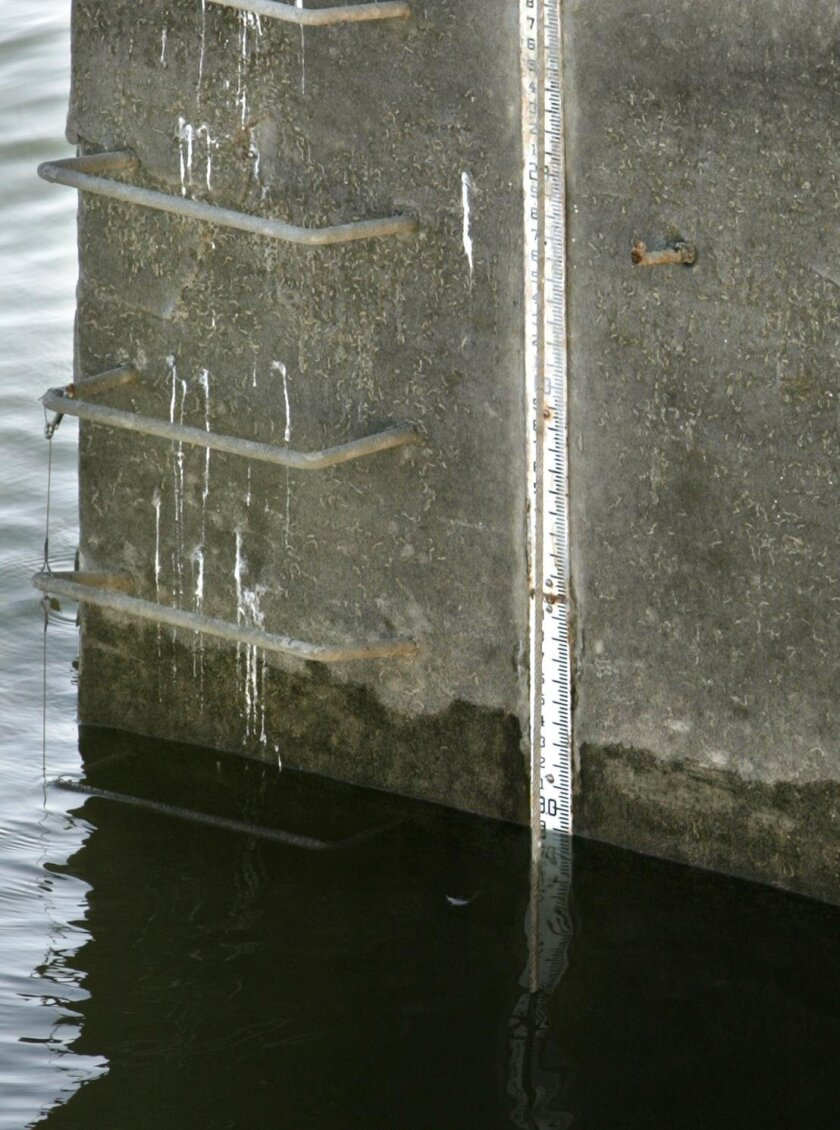 A yard stick-like instrument called a staff gauge is used to measure the depth of the Sweetwater Reservoir.