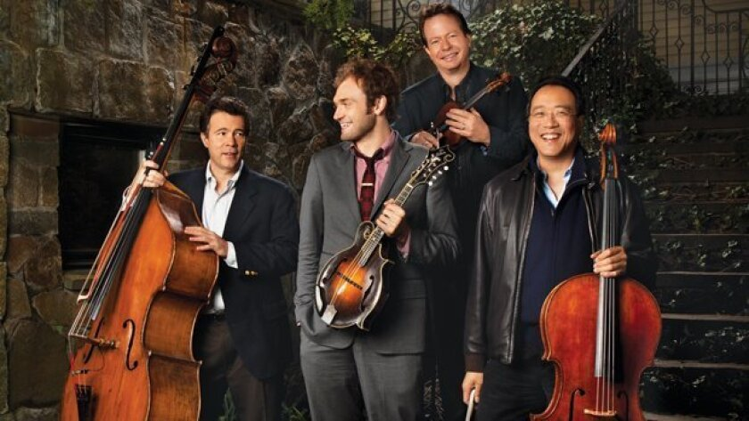 The members of The Goat Rodeo Sessions are, from left, Edgar Meyer, former San Diegans Chris Thile and Stuart Duncan, and Yo-Yo Ma.