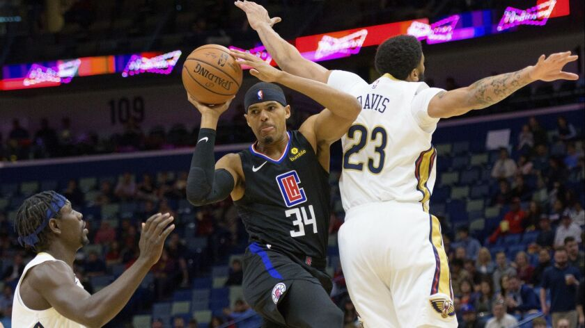 Los Angeles Clippers forward Tobias Harris (34) passes around New Orleans Pelicans forward Anthony D