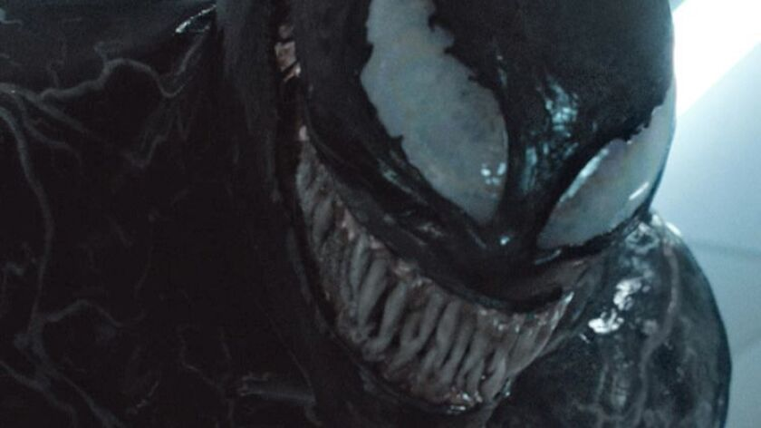 "Tom Hardy plays Spider-Man villain Venom in a movie without Spider-Man. ""Venom"" premieres Oct. 5."