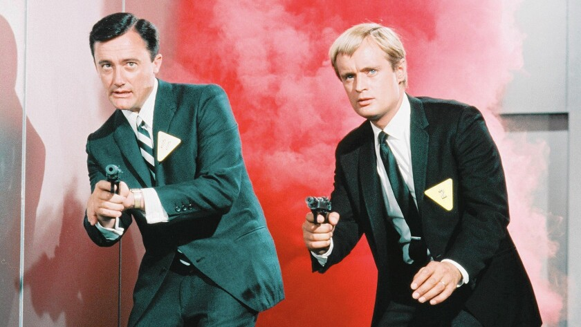"Robert Vaughn, left, as Napoleon Solo and David McCallum as Illya Kuryakin in the mid-1960s TV series ""The 'Man from U.N.C.L.E."""