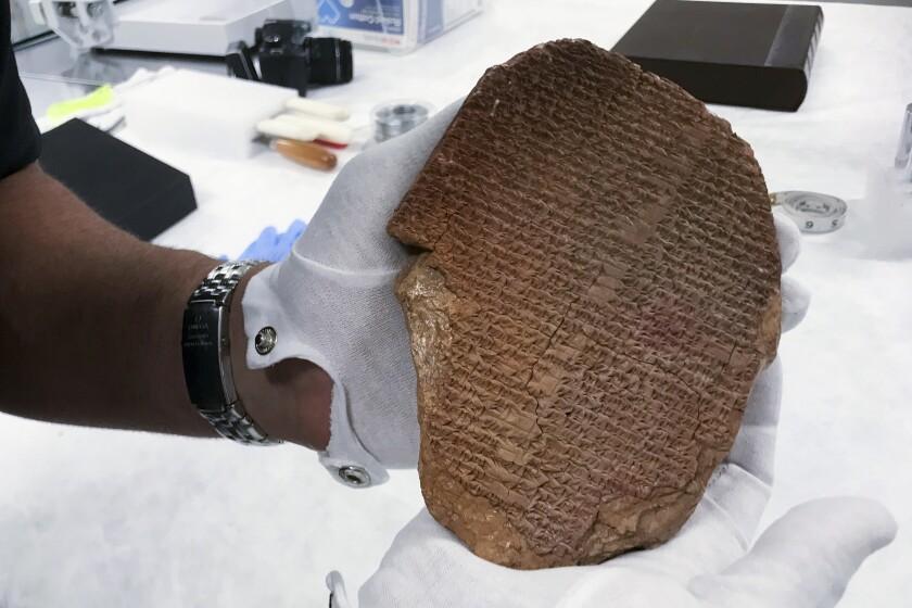 una pieza de 3.500 años de antigüedad, conocida como la Tablilla del Sueño de Gilgamesh.