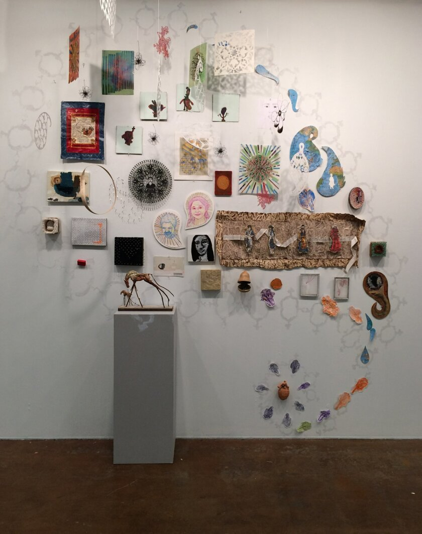 "Some of the elements that dozens of artists have contributed  to the ""Labor-Migrant-Gulf"" exhibit at Southwestern College. Photo: Doris Bittar"