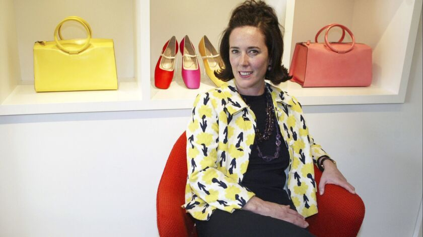 FILE - In this May 13, 2004, file photo, designer Kate Spade sits during an interview in New York. N