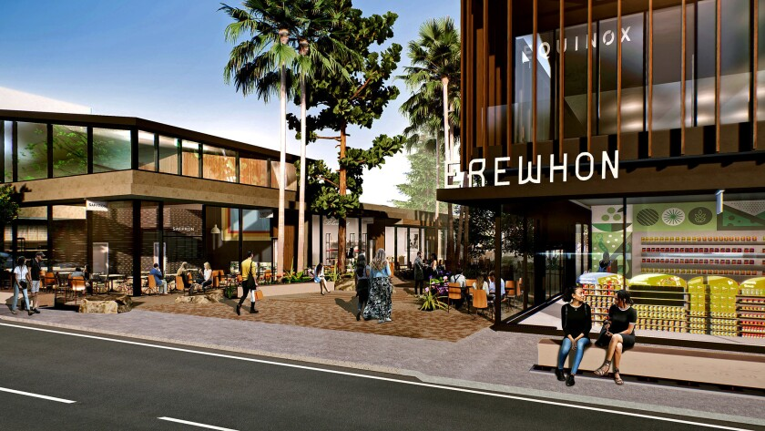 An architect's rendering of the Shops at Sportsmen's Lodge, a $100-million retail center set to begin construction in August in Studio City.