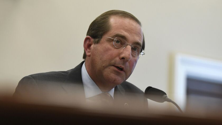 Health and Human Services Secretary Alex Azar testifies at a hearing on the budget for fiscal year 2020, which would cut hundreds of billions of dollars from the Medicaid budget