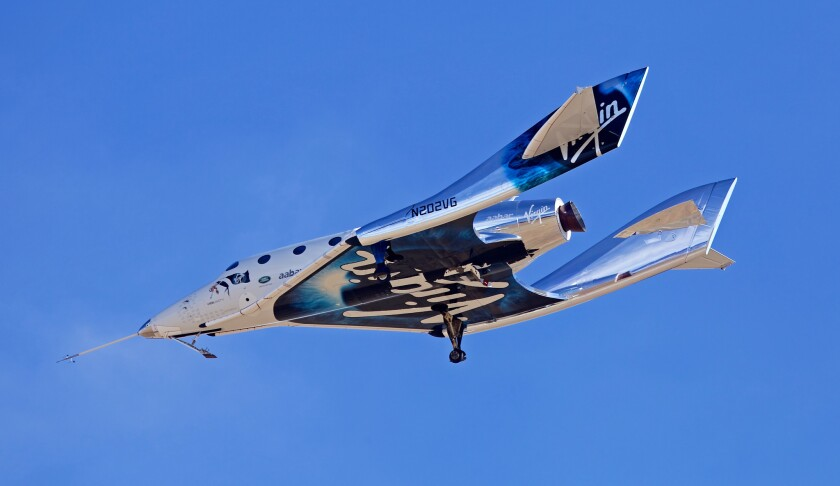 ONE TIME USE - MOJAVE, CALIF. - APR. 5, 2018 - The Virgin Galactic VSS Unity photographed in its 12t