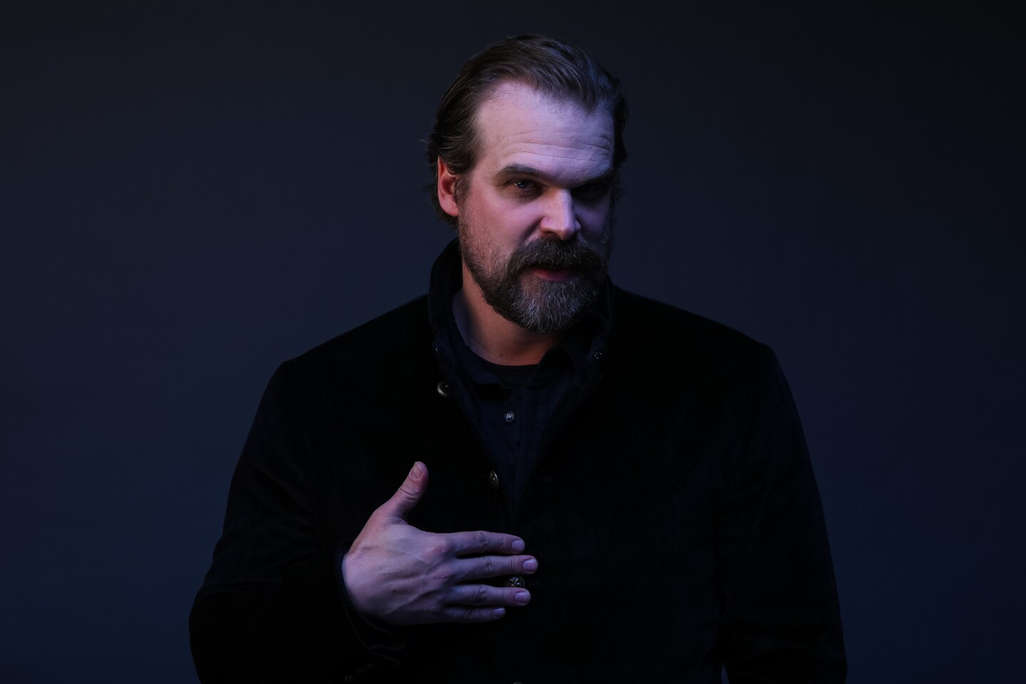 "David Harbour, from the Netflix show ""Stranger Things,"" photographed during PaleyFest, at the Dolby Theatre in Hollywood on March 25, 2018."