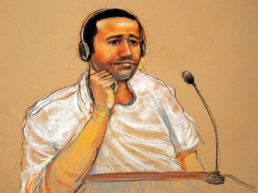 FILE - This Nov. 9, 2011, file artist rendering by courtroom artist Janet Hamlin, reviewed by the U.S. military, shows Abd al Rahim al-Nashiri during his military commissions arraignment at the Guantanamo Bay detention center in Guantanamo, Cuba. Nashiri, accused of orchestrating the 2000 bombing o