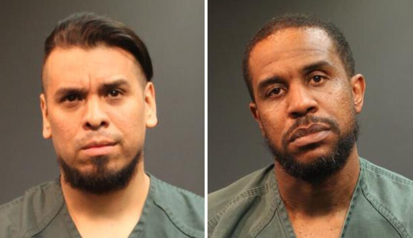 Felipe Andres Coronel, 37, left, who performs as Immortal Technique, and Steven Alexander McDaniel were arrested on suspicion of robbery.