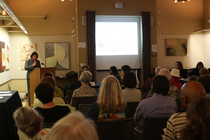 Approximately 75 people attend the presentation on senior safety at la Jolla library, Aug. 7.