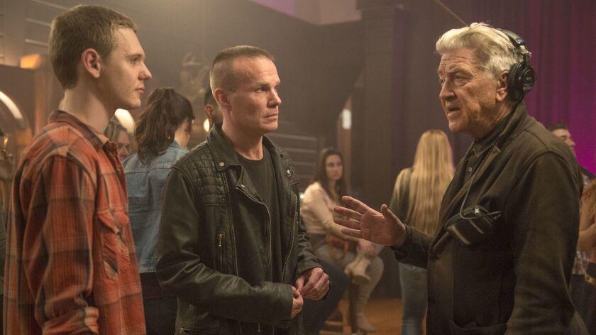 "Jake Wardle, James Marshall and David Lynch on the set of ""Twin Peaks."""
