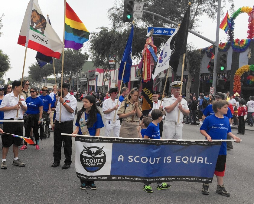 Claremont's Boy Scout Troop 407 marches in the L.A. Pride Parade. The troop is sponsored by the Claremont United Church of Christ.