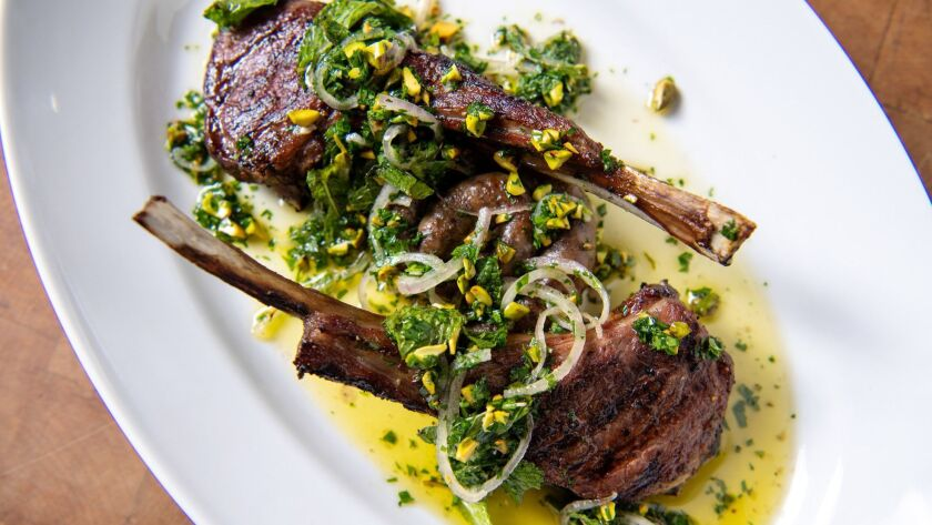 LOS ANGELES, CA-June 7, 2019: From the fire lamb with pistachio and mint from the soon to be opened