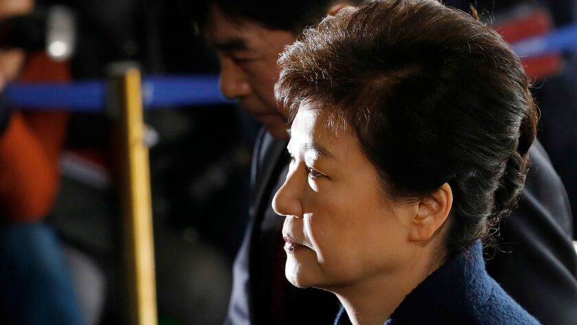 FILE - In this March 21, 2017 file photo, South Korea's ousted leader Park Geun-hye arrives at the p