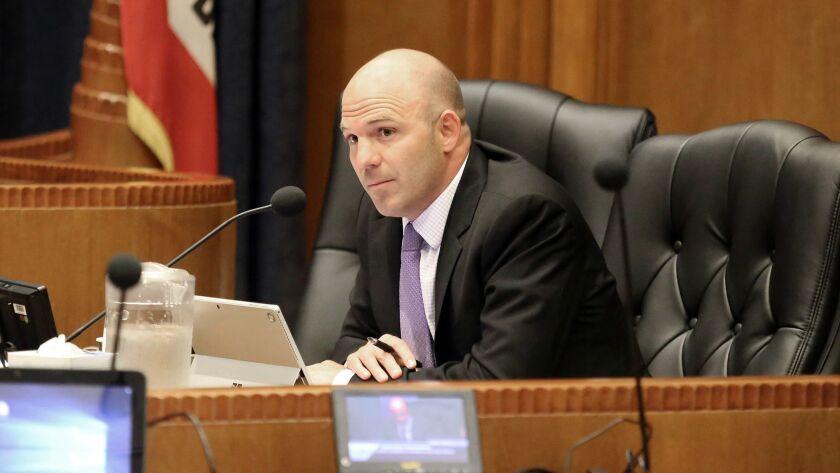 Matt Hill Burbank Unified School District Superintendent listens to public comment during the Burban