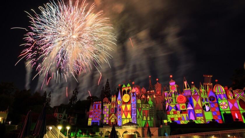 """Fireworks over """"It's a Small World"""" at Disneyland. After 50 years Disneyland's """"It's a Small World"""" continues to be one of the resort's most popular rides."""