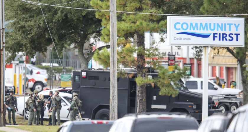 Florida authorities said hostages had been released at the Community First Credit Union bank in Jacksonville.