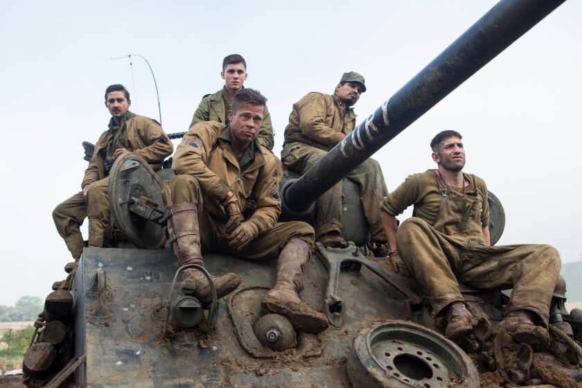 "Shia LaBeouf, Logan Lerman, Brad Pitt, Michael Pena and Jon Bernthal in Sony Pictures Entertainment's ""Fury."""