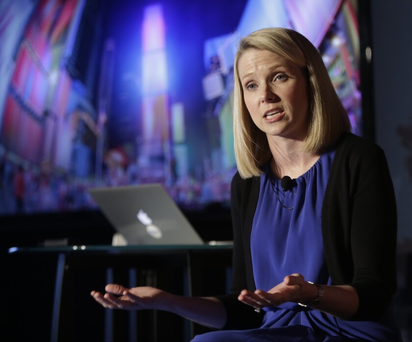 Yahoo CEO Marissa Mayer speaks during a news conference in New York on May 20, 2013.