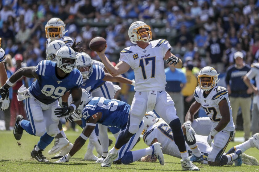 Chargers quarterback Philip Rivers launches a 28-yard touchdown pass to Keenan Allen.