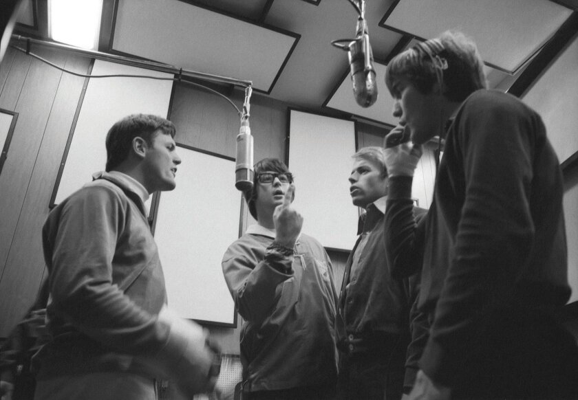 The Beach Boys in studio, from left, Bruce Johnston, Brian Wilson, Al Jardine, and Dennis Wilson. CREDIT: Capitol Photo Archives