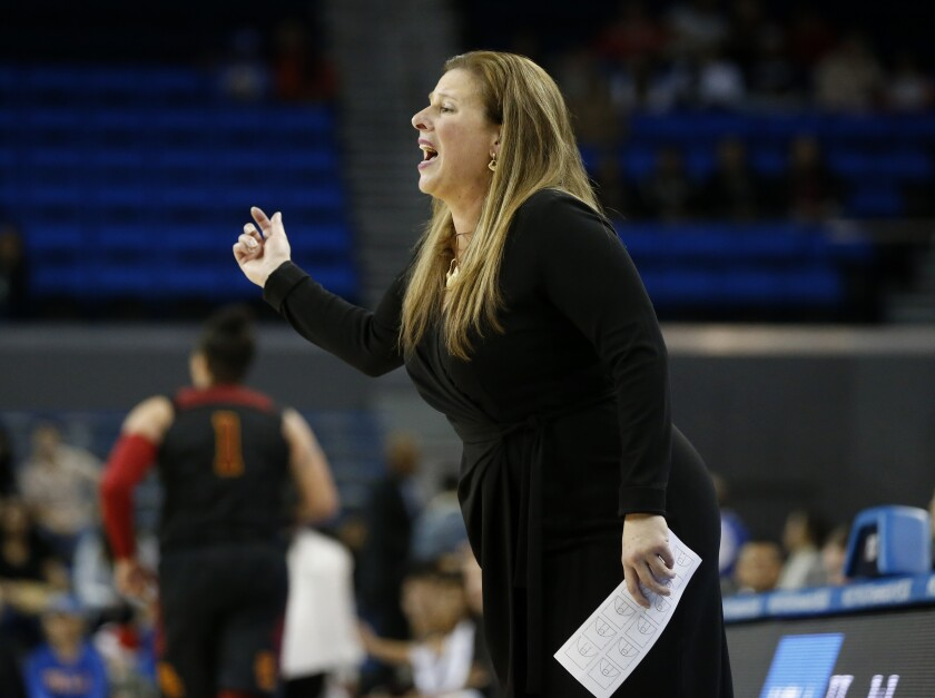 UCLA women's basketball coach Cori Close calls out instructions to her players during a game against USC on Dec. 29 at Pauley Pavilion.