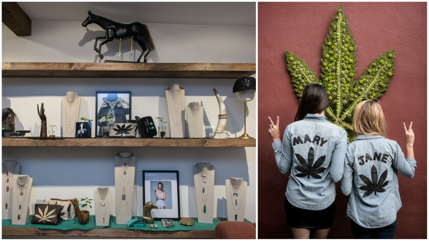"""At left, a display of jewelry and smoking accessories in Jacquie Aiche's Beverly Hills showroom. At right, Scout Durwood, left, and Jessica Rothe, stars of MTV's """"Mary + Jane."""""""