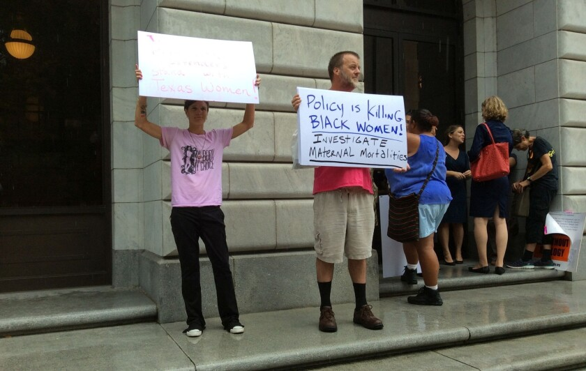 Abortion rights demonstrators outside the U.S. 5th Circuit Court of Appeals last month.