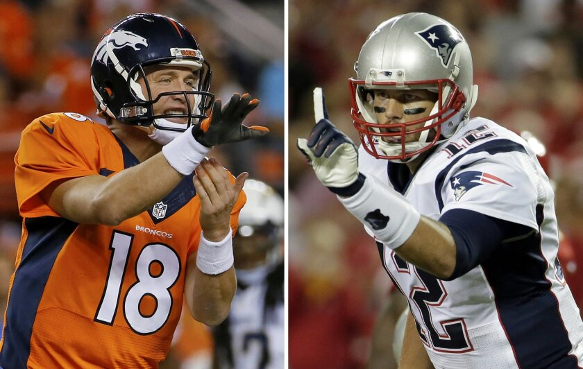 FILE - At left, in an Oct. 23, 2014, file photo, Denver Broncos quarterback Peyton Manning calls a play against the San Diego Chargers during an NFL football game in Denver. At right, in a Sept. 29, 2014, file photo, New England Patriots quarterback Tom Brady points on the line of scrimmage during an NFL football game against the Kansas City Chiefs in Kansas City, Mo. New England has little time to savor its fourth straight win, a 51-23 pounding of the Chicago Bears. Tom Brady versus Brock Osweiler just doesn't have the same Hall of Fame ring to it. Still, when Brady leads his undefeated Patriots into Denver on Sunday night, Nov. 29, 2015 the game will have plenty of significance. (AP Photo/File)