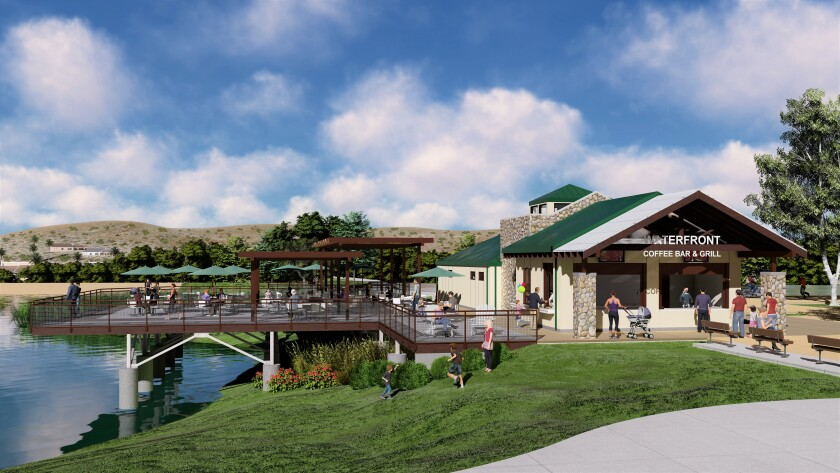 An artist's rendering of the coming spot at Santee Lakes where a new restaurant called Tin Fish will open later this year.
