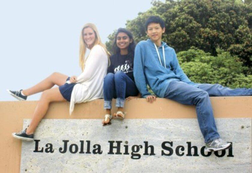 Class salutatorian Priyanka Nanayakkara (center) is flanked by co-valedictorians Danielle Collins and Allen Cao.