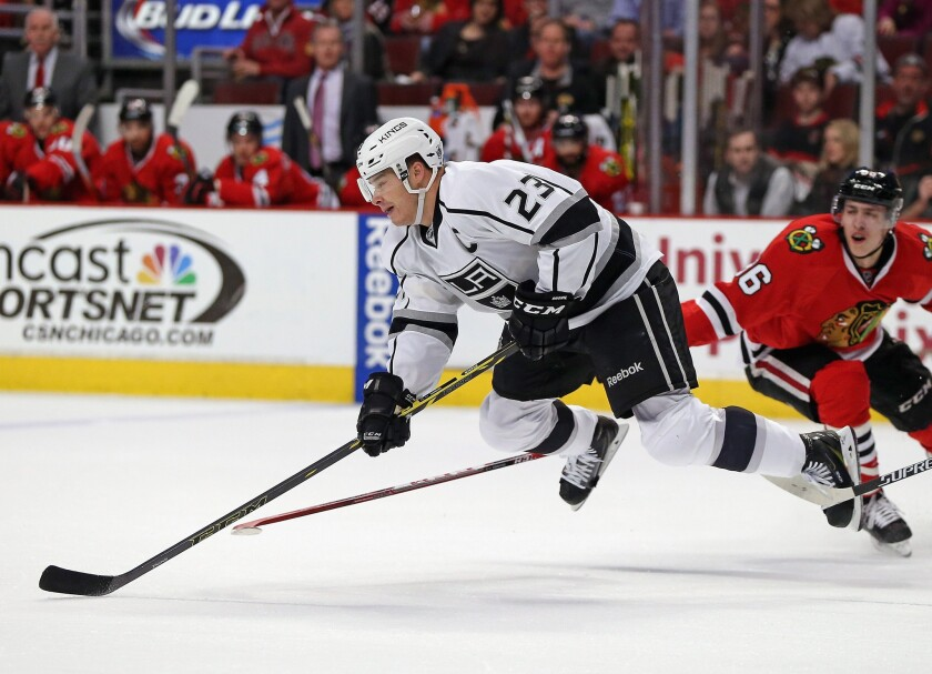 Forward Dustin Brown and the Kings were tripped up by the Blackhawks Monday night.