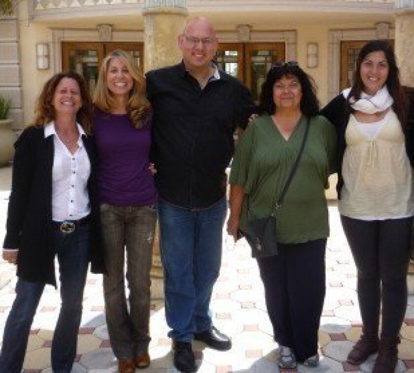 Adopt a Family founders Carine Chitayat and Iris Pearlman brought Adopt a Family members to San Diego. The two are shown with Yaron Bob, and Anna and Stav Kdoshim.