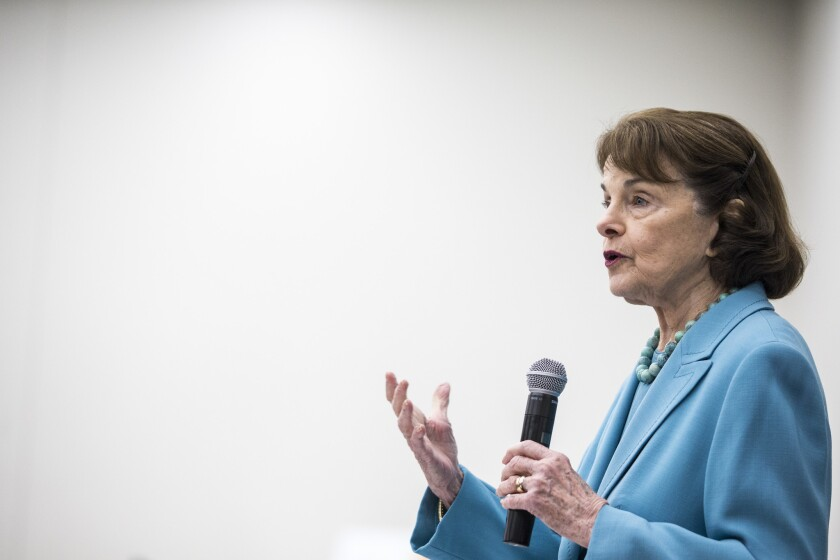 Sen. Dianne Feinstein speaks  at the 2018 California Democratic Party Convention