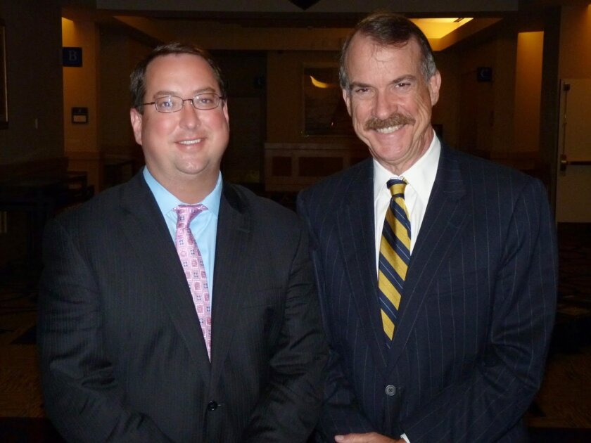 Stem cell agency President C. Randal Mills (left) and Chairman of the Board Jonathan Thomas.