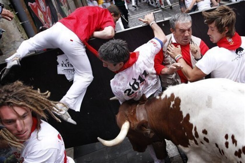 Revelers are surprised by an angry leading ox, used to drive the fighting bulls during the running of the bulls at the San Fermin fiestas on Thursday, July 7, 2011, in Pamplona, Spain. (AP Photo/Daniel Ochoa de Olza)