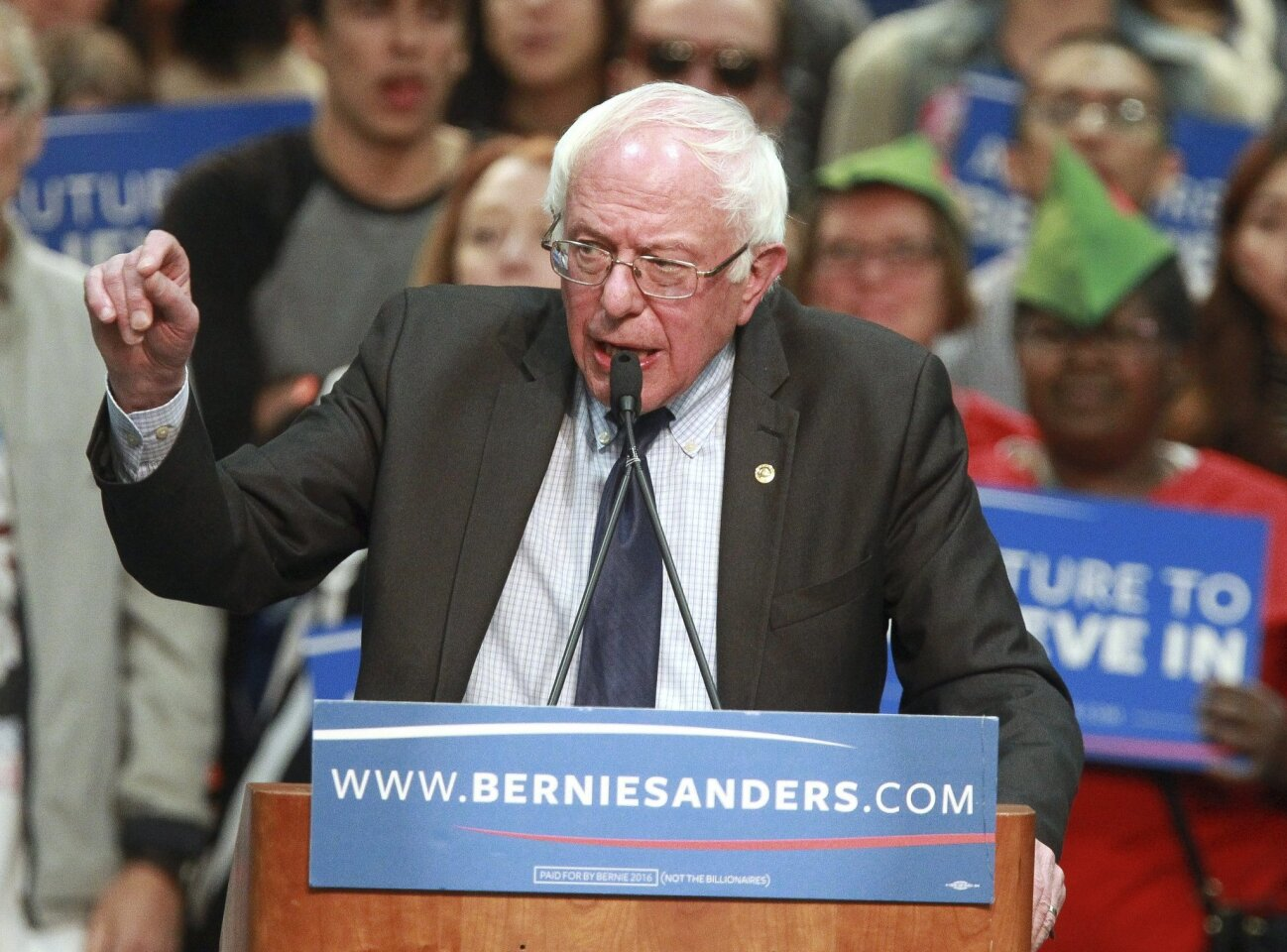 Democratic presidential candidate Bernie Sanders speaks to a crowd of supporters.