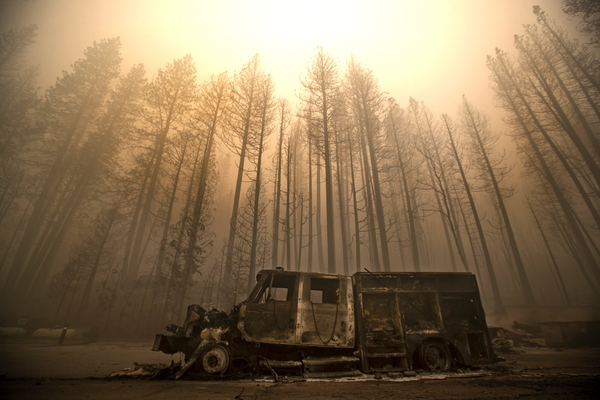 A burned fire truck is framed by trees destroyed in the Dixie fire in Greenville.
