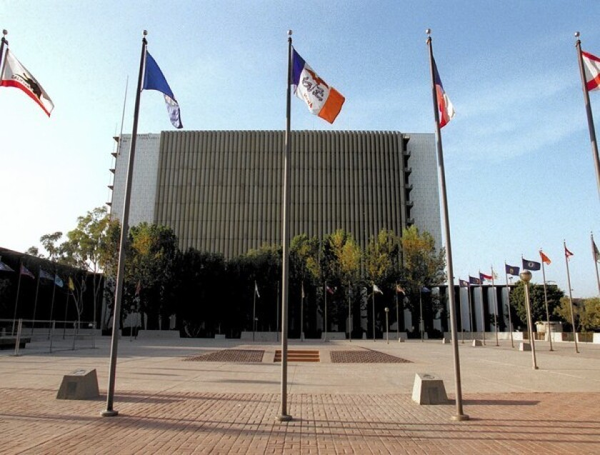 The Plaza of the Flags stands near Orange County Superior Court.