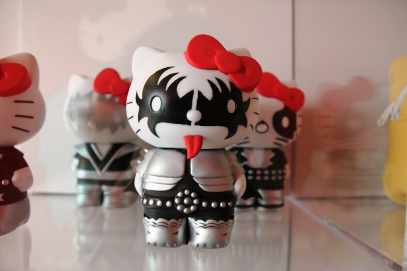 KISS-themed dolls on display as part of the Hello Kitty retrospective at Los Angeles' Japanese American National Museum, because too much Hello Kitty is never enough.