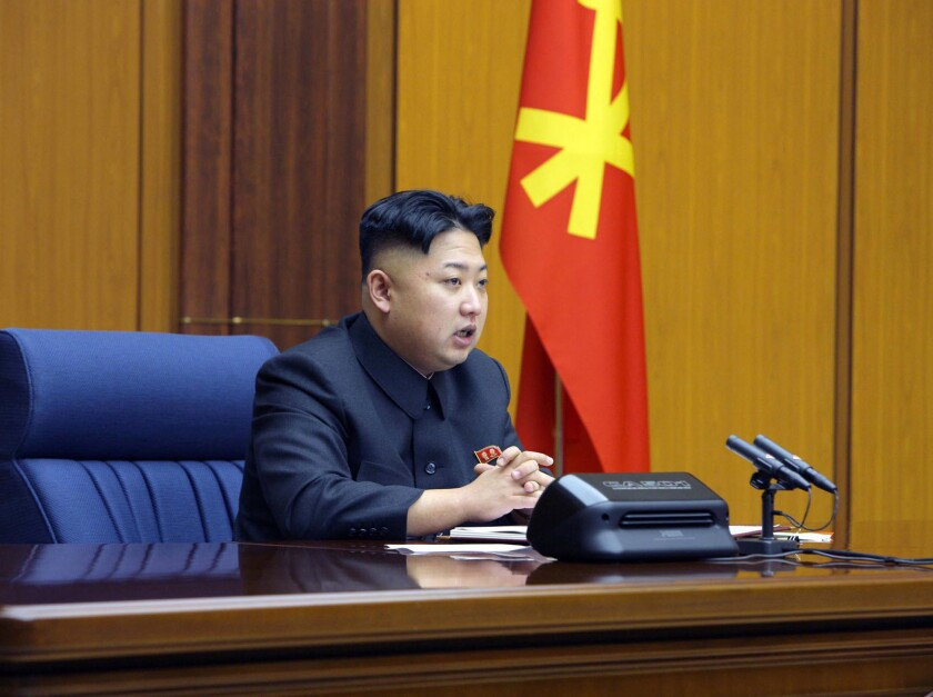 In this undated photo, North Korean leader Kim Jong Un attends a meeting of the Central Military Commission of the Workers' Party of Korea at an undisclosed location in North Korea.