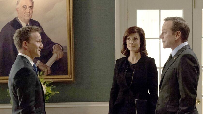 "Breckin Meyer, left, Zoe McLellan and Kierfer Sutherland in ""Designated Survivor"" on ABC."