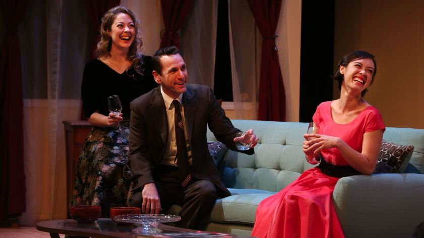 """Actors (from left) Laura Bohlin (Millie), John DeCarlo (Bob) and Jennifer Paredes (Norma), in rehearsal for Intrepid Theatre's """"Perfect Arrangement."""""""