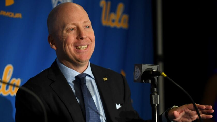 UCLA coach Mick Cronin speaks during his introductory news conference on April 10.