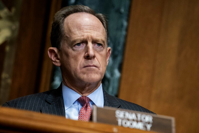 Sen. Patrick J. Toomey listens intently at a hearing