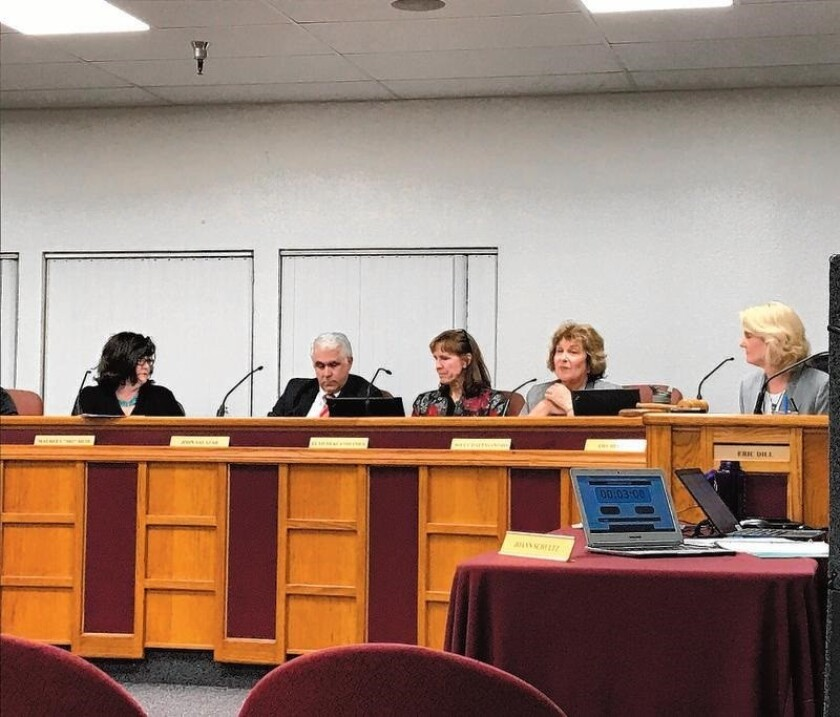 The SDUHSD board discusses the superintendent contract on Jan. 19.